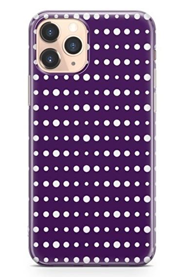 Lopard İphone 11 Pro Kılıf Silikon Arka Kapak Koruyucu Mor Puantiye Desenli Full HD Baskılı Renkli